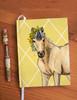 Cute Whimsical Buckskin Pony Equestrian Designer Hardbound Journal