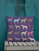 Purple Horse Pattern Throw Pillow
