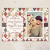 Equestrian Photo Template Christmas Card with festive harlequin horse pattern.