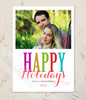 Colorful Happy Holidays Photo Template Christmas Cards
