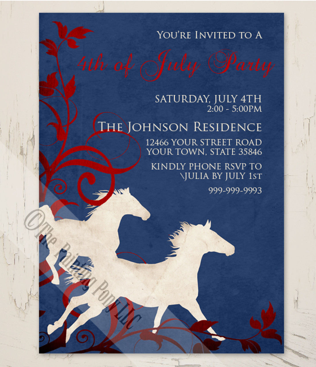 wild horses equestrian 4th of july party invitation 10 pk the