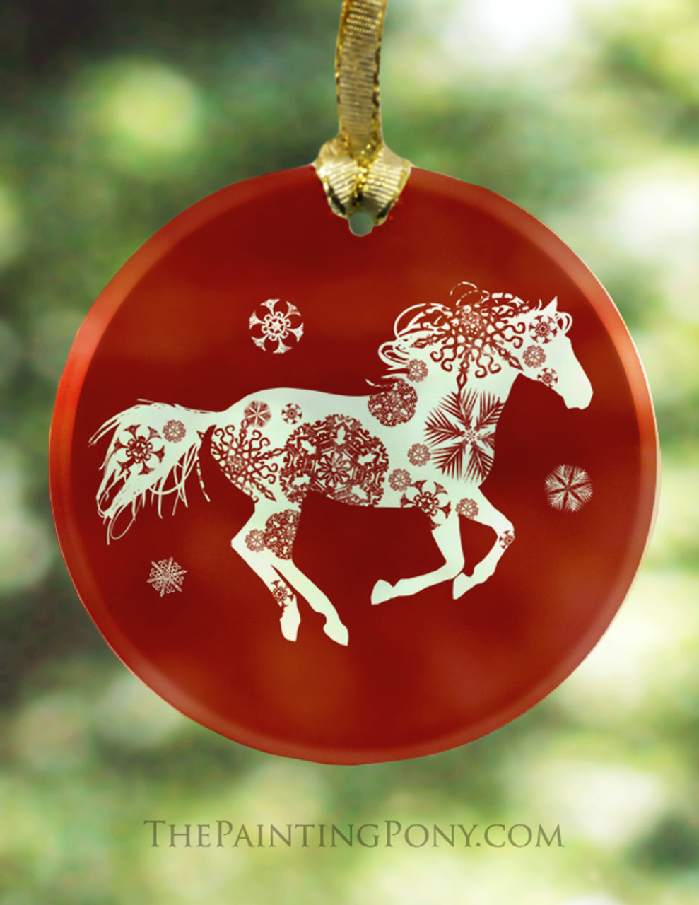 Christmas Horse Pictures.Red Frosted Glass Snowflake Horse Christmas Ornament