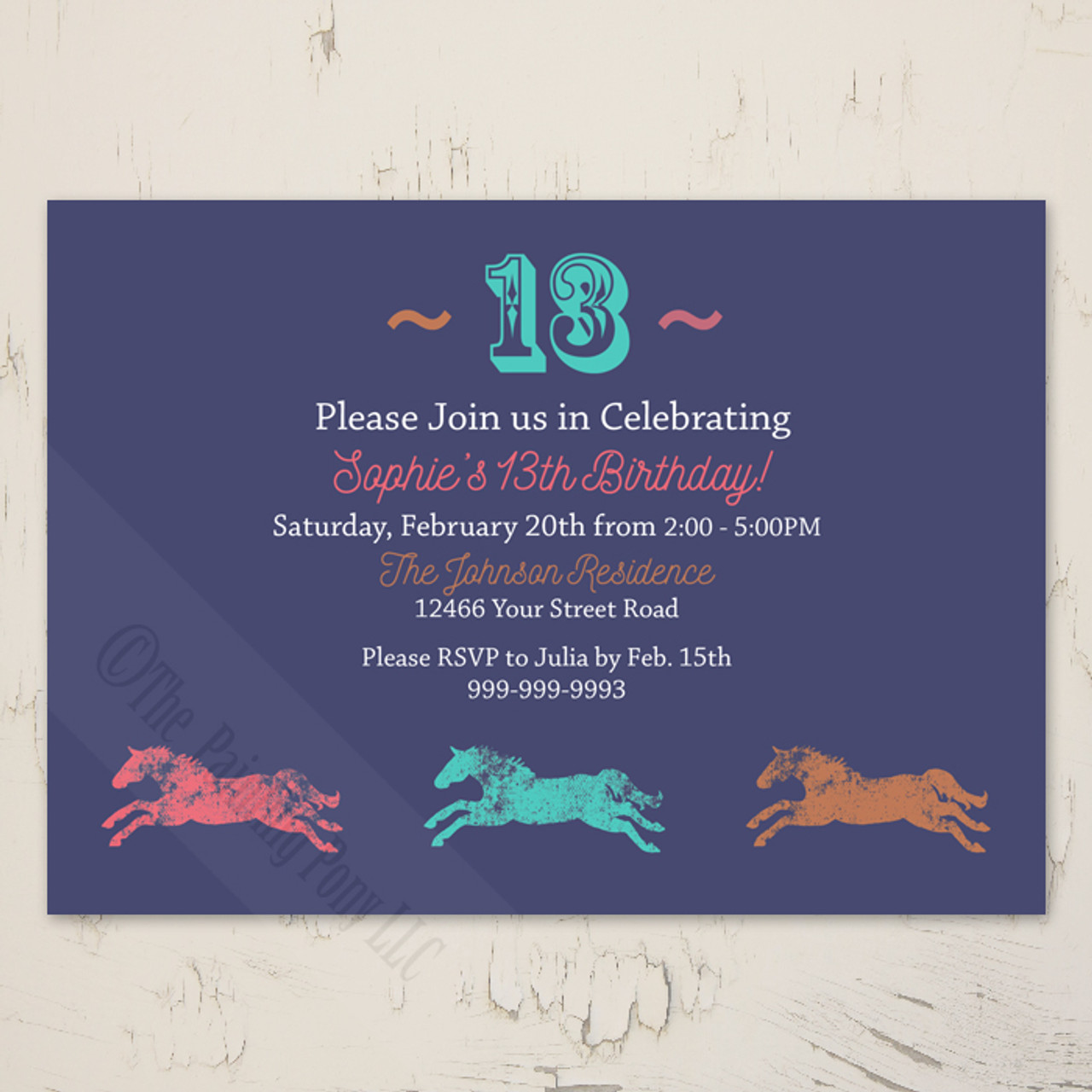 Colorful Galloping Horses Equestrian Birthday Party Invite