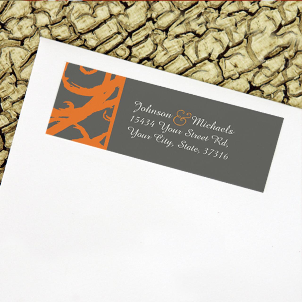 orange and grey sketchy frame wedding return address labels the