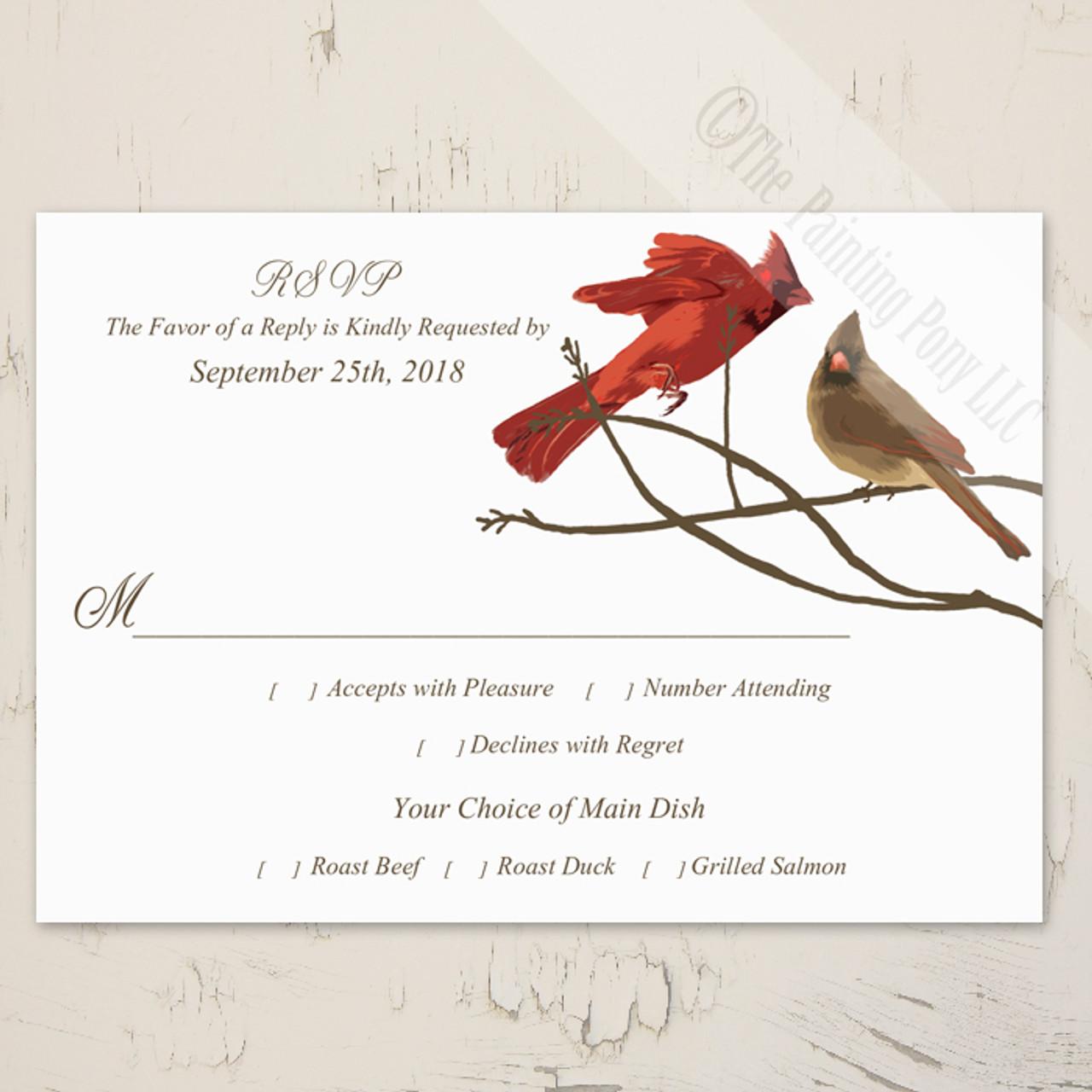 Wedding Response Cards.Winter Cardinals Wedding Rsvp Card 10 Pk