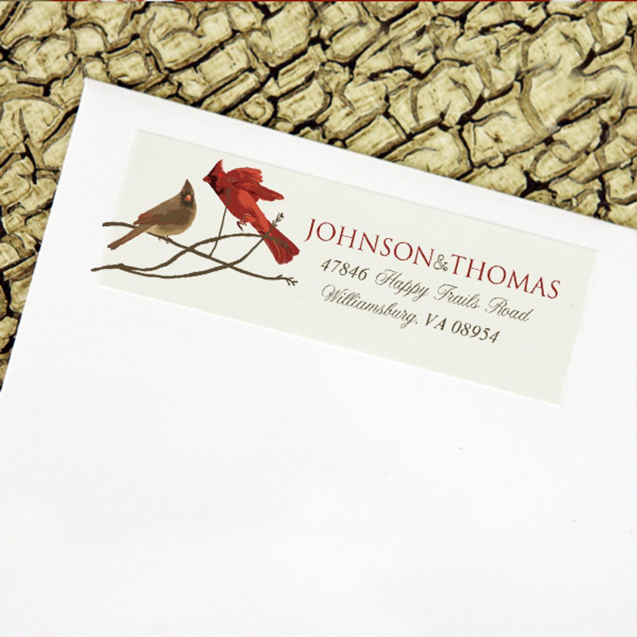 winter cardinals wedding return address labels the painting pony