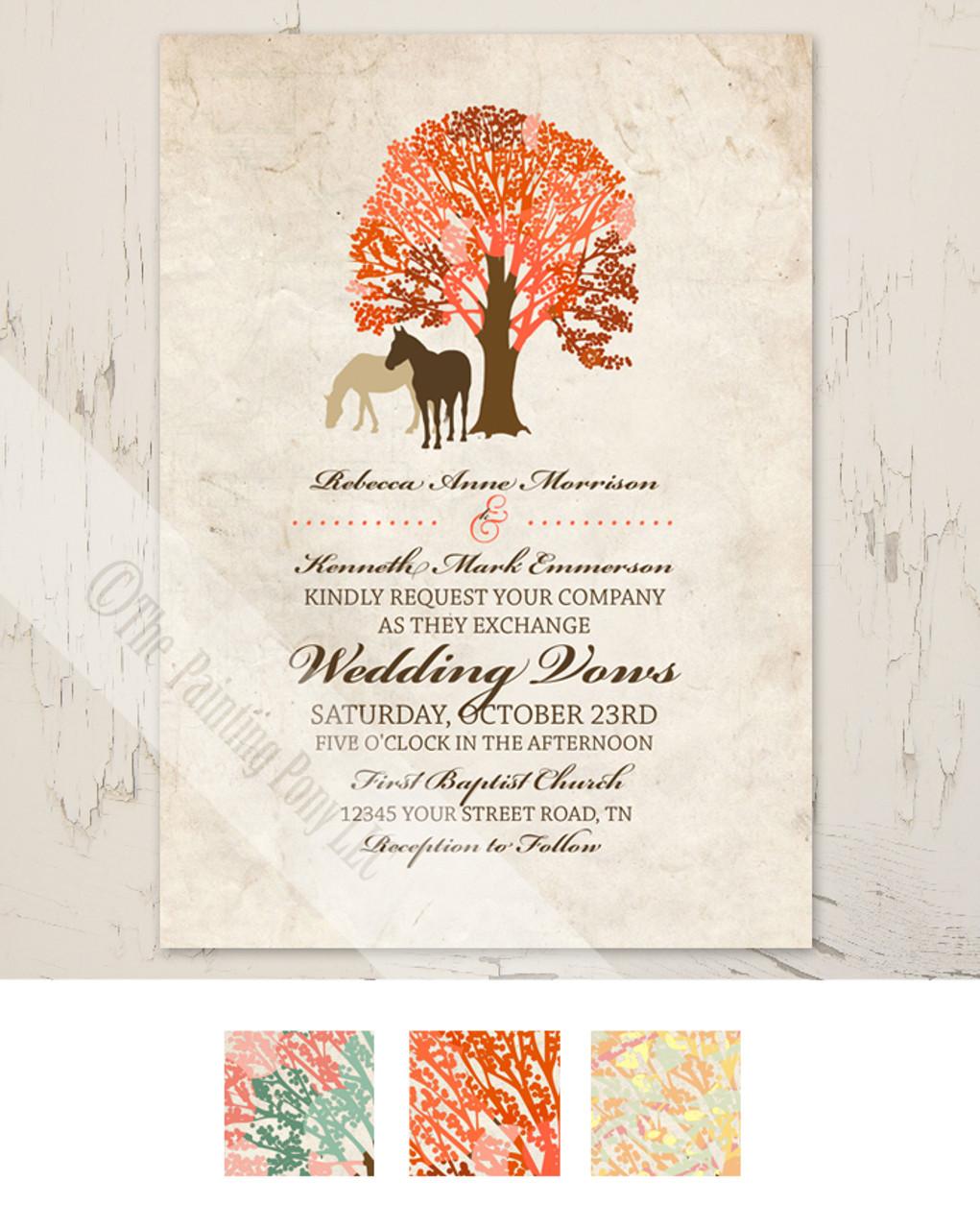 Autumn Horses Wedding Invitation 10 Pk The Painting Pony