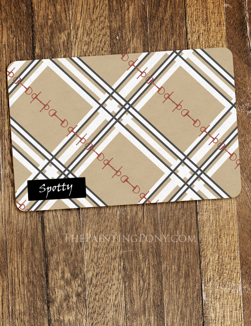 Plaid Horse Bits Pattern Equestrian Themed Pet Food Mat The