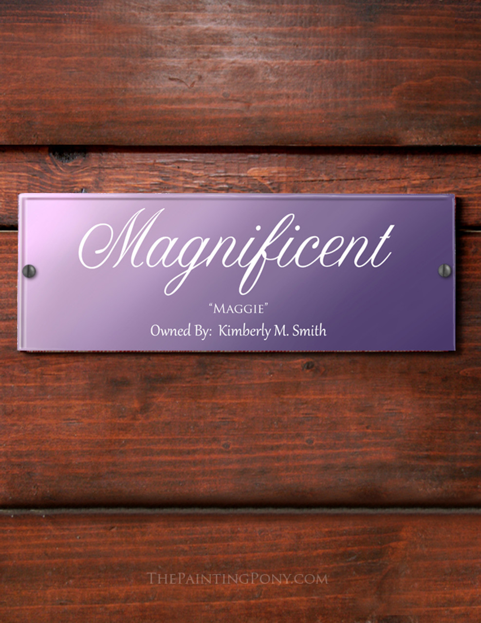 Customized Purple Ombre Acrylic Horse Stall Name Plate The Painting Pony