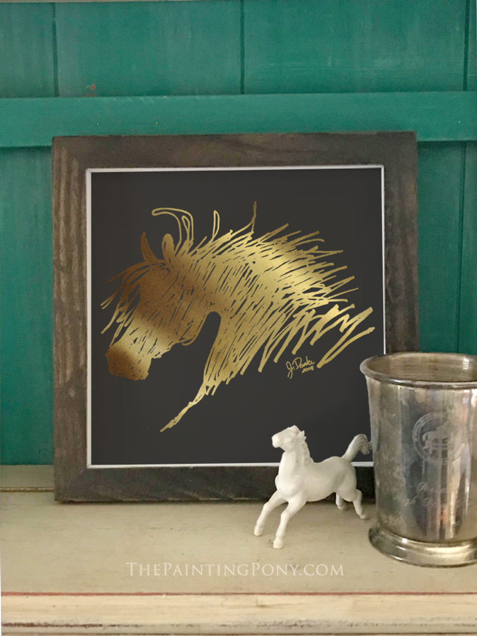 Metallic Gold Foil Abstract Horse Head Art Print The Painting Pony