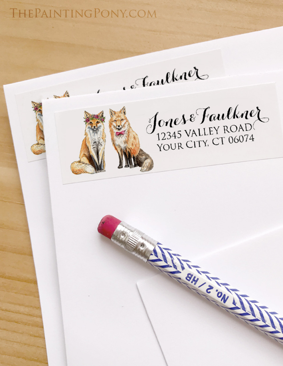 bohemian foxes wedding return address labels the painting pony
