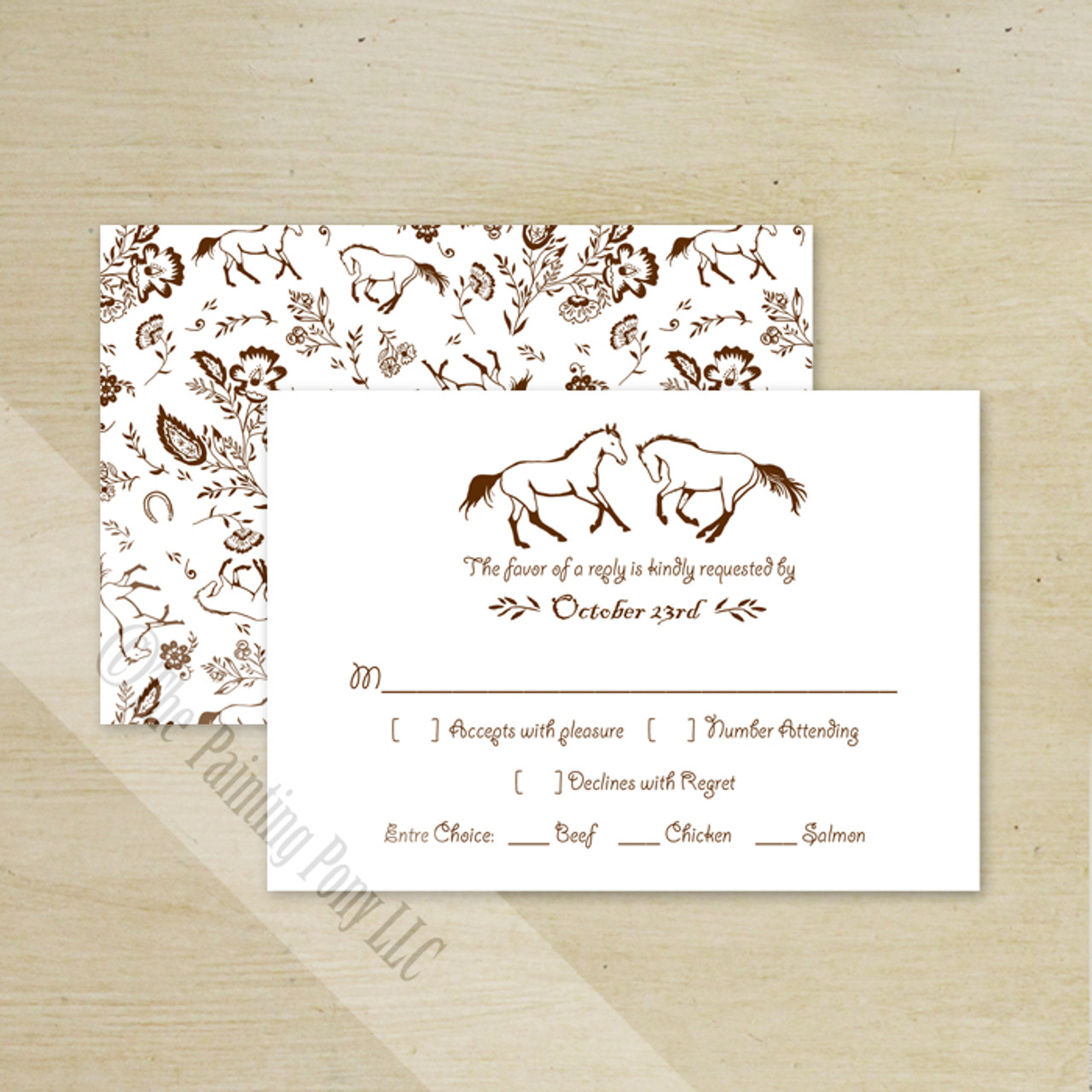 country floral horses wedding rsvp card  10 pk