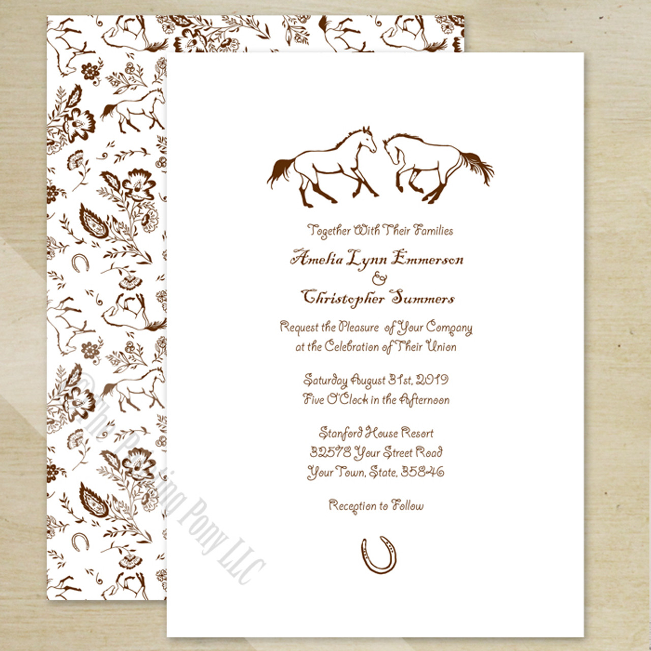 Country Floral Horses Wedding Invitation 10 Pk The Painting Pony