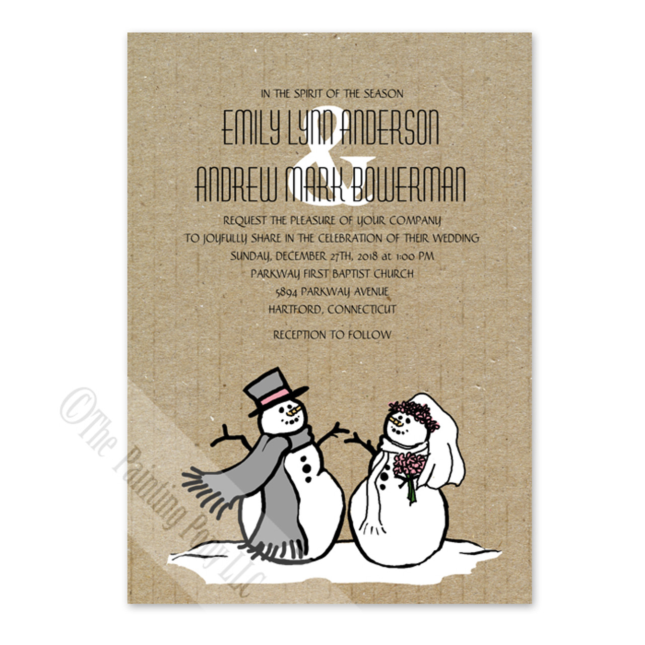 Christmas Wedding Invitations.Snowman And Bride Christmas Wedding Invitation 10 Pk