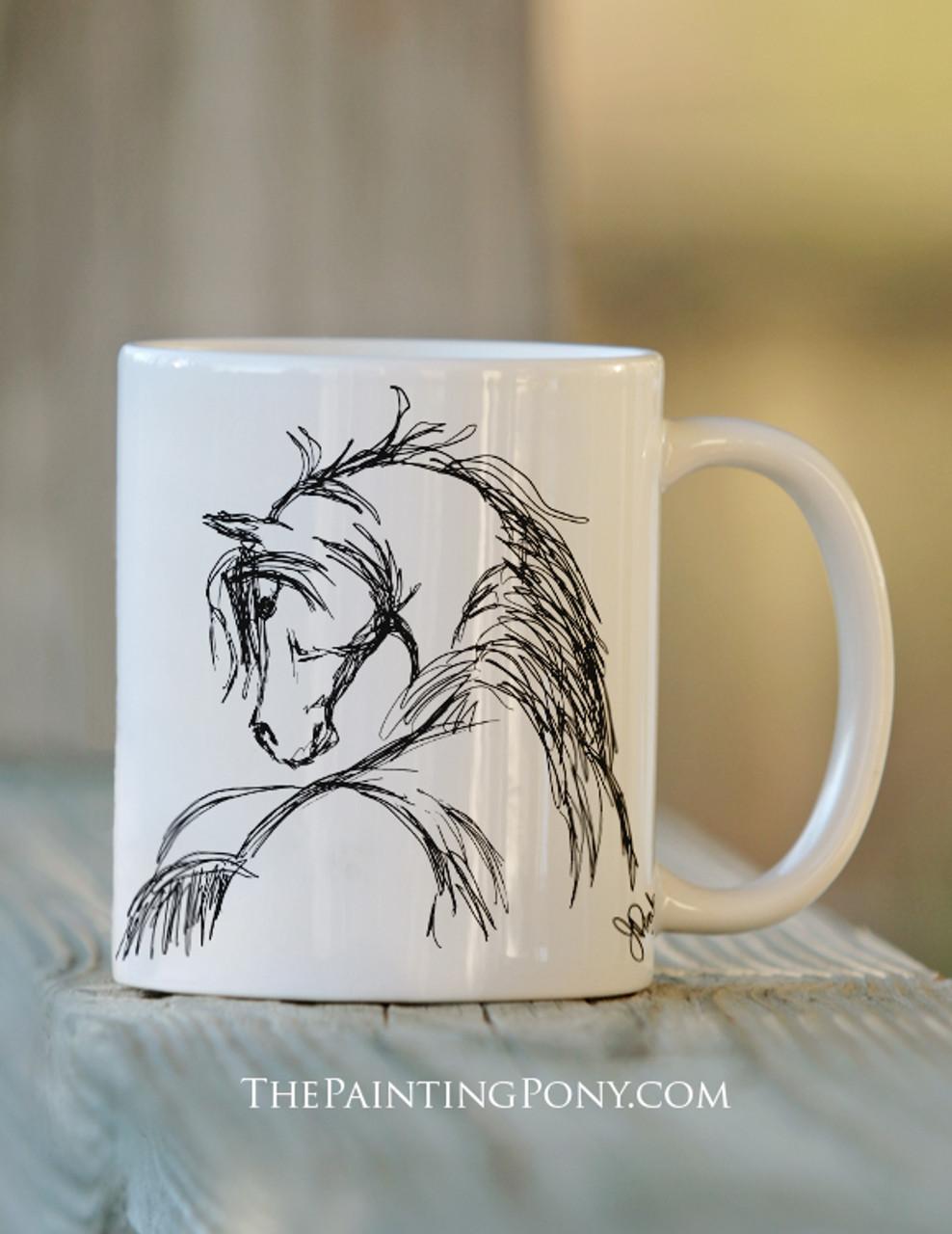 Horse Head Equestrian Coffee Sketch Mug POXnw80k