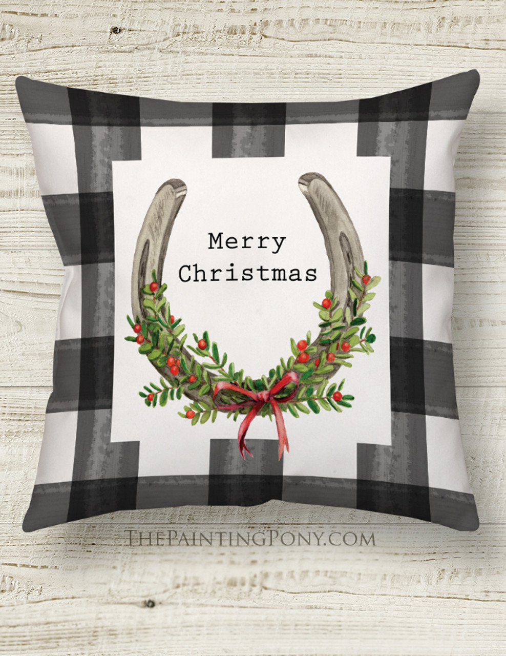 Christmas Horse Shoe Art Country Throw Pillow The Painting Pony