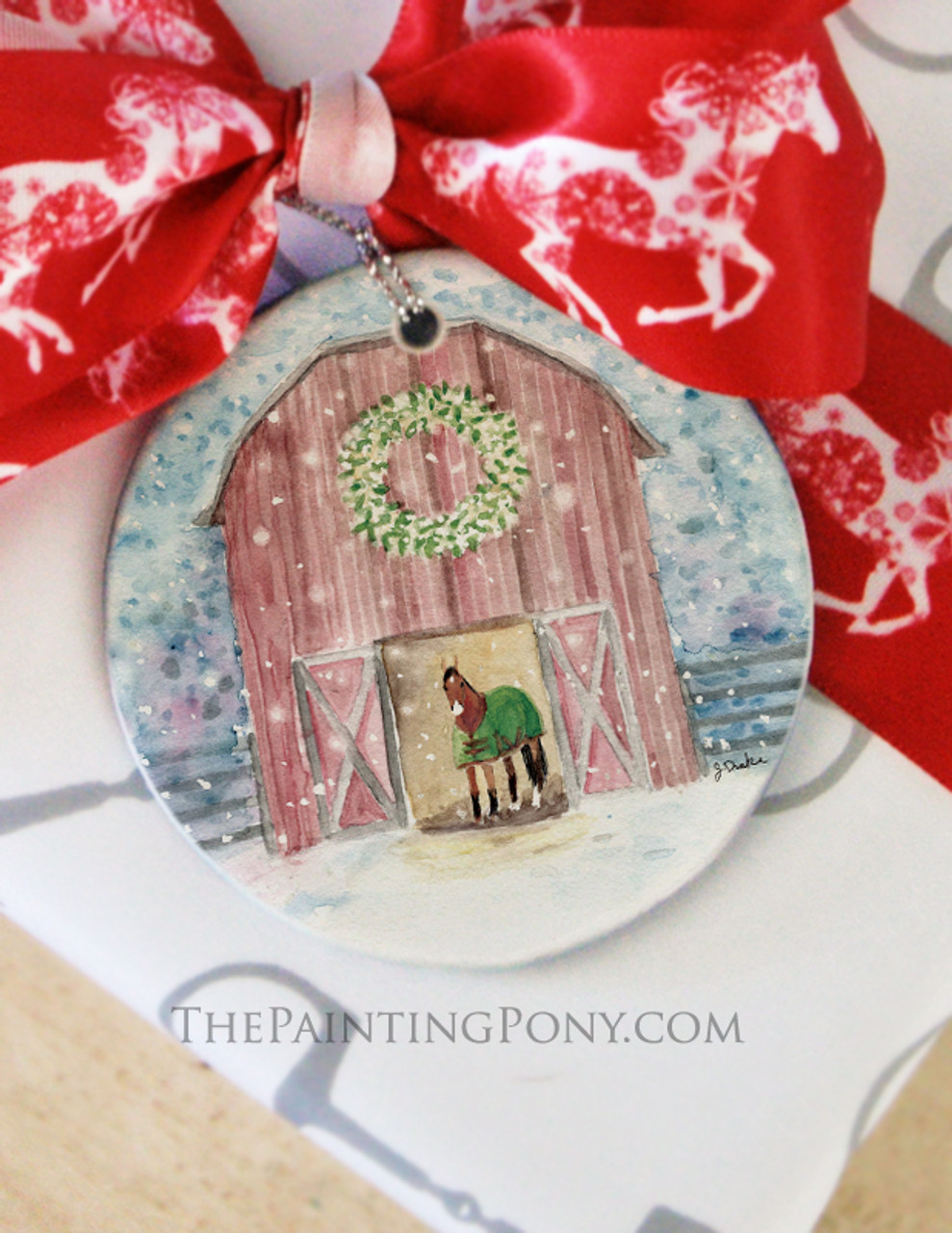 Snowy Red Country Horse Barn Christmas Ornament The Painting Pony