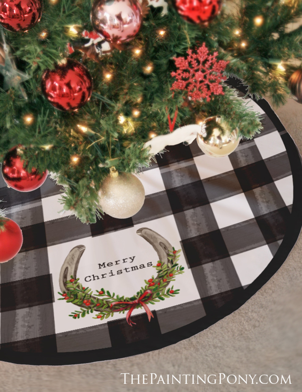 Buffalo Plaid Horse Shoe Personalized Christmas Tree Skirt The Painting Pony