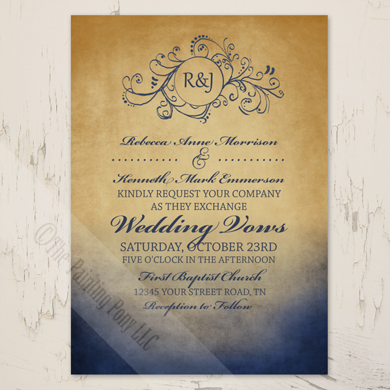 Rustic Navy and Gold Bohemian Wedding Invitation.