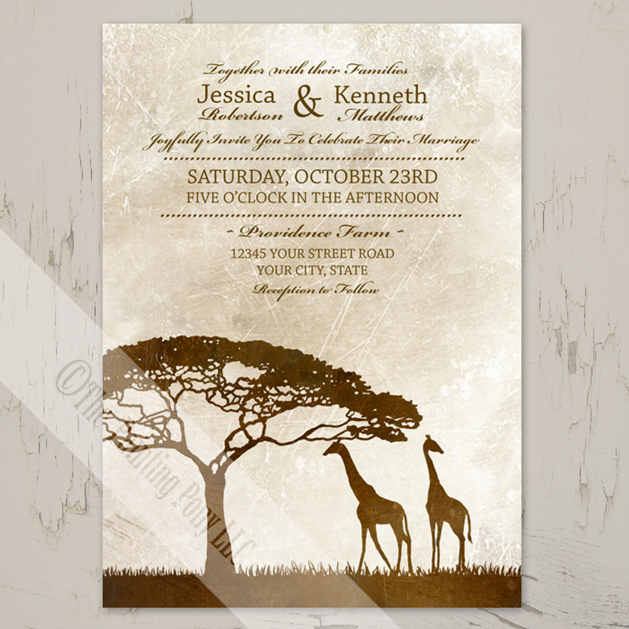 African Giraffes Wedding Invitation 10 Pk The Painting Pony