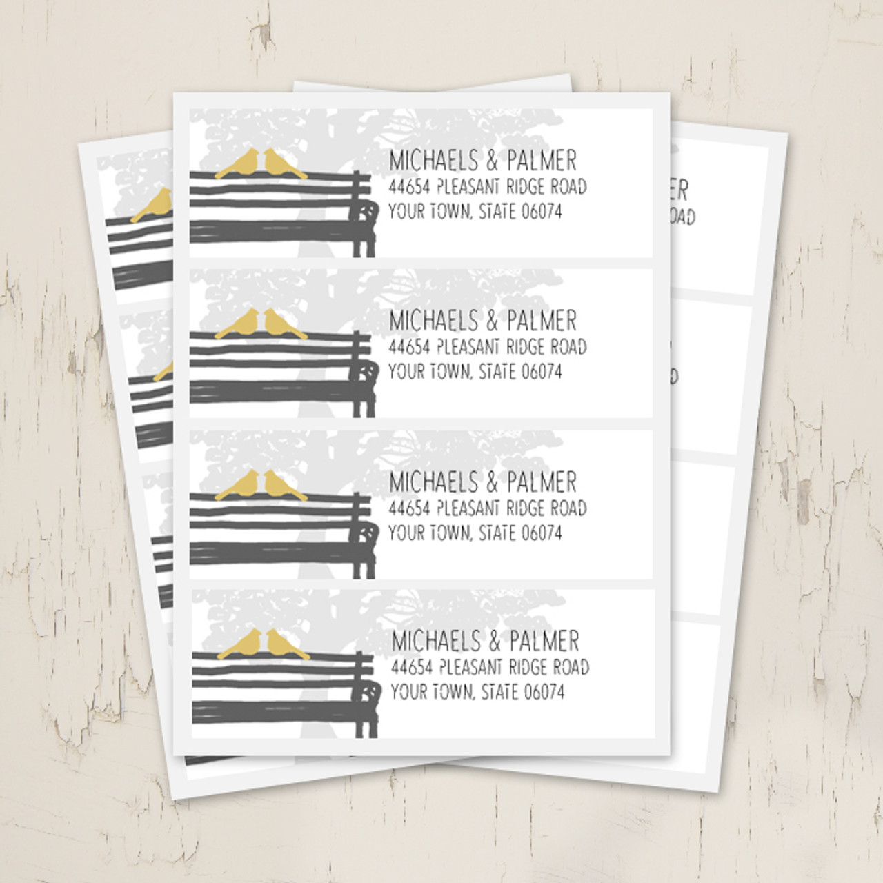 birds on a park bench wedding return address labels the painting pony