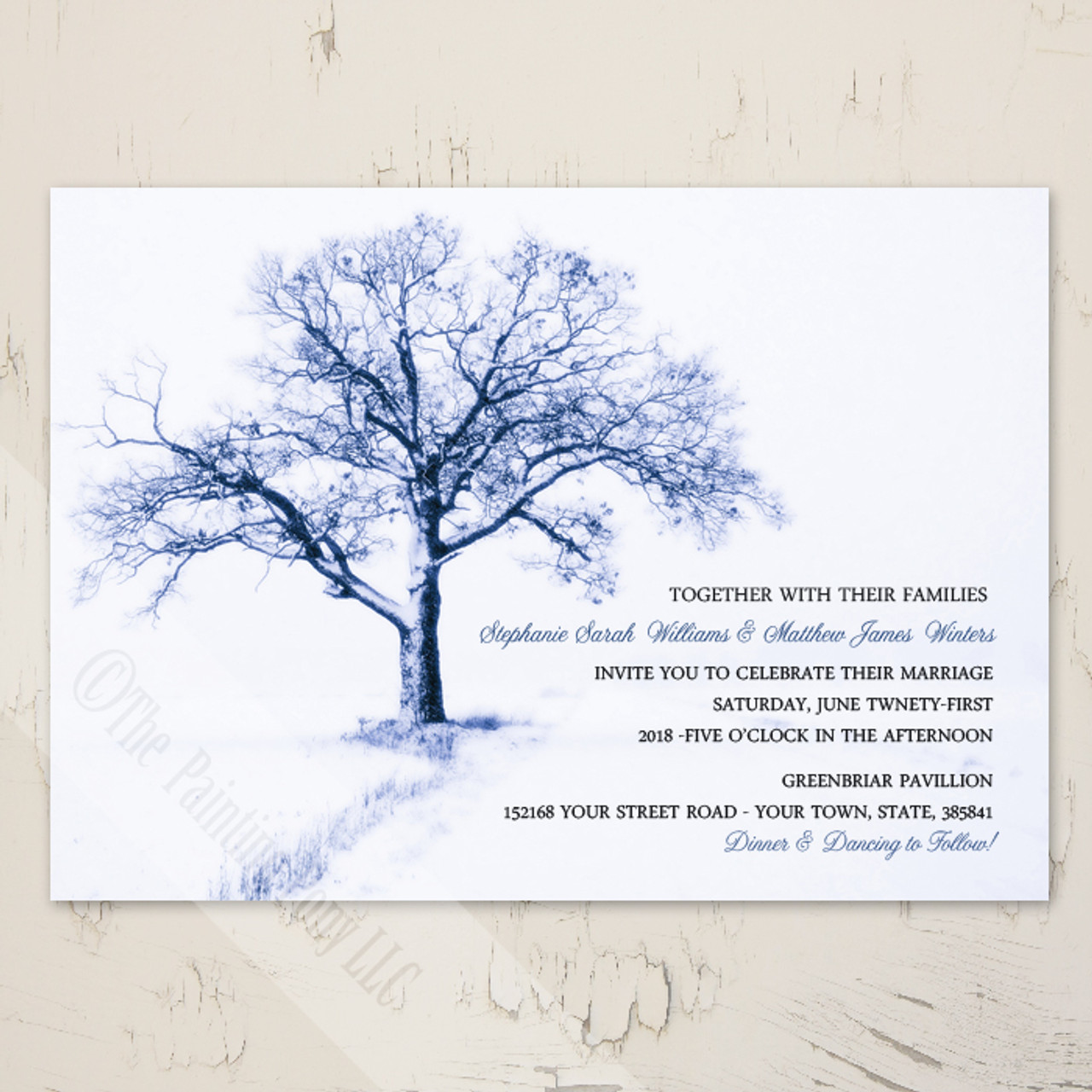 Christmas Wedding Invitations.Winter Tree Wedding Invitation 10 Pk