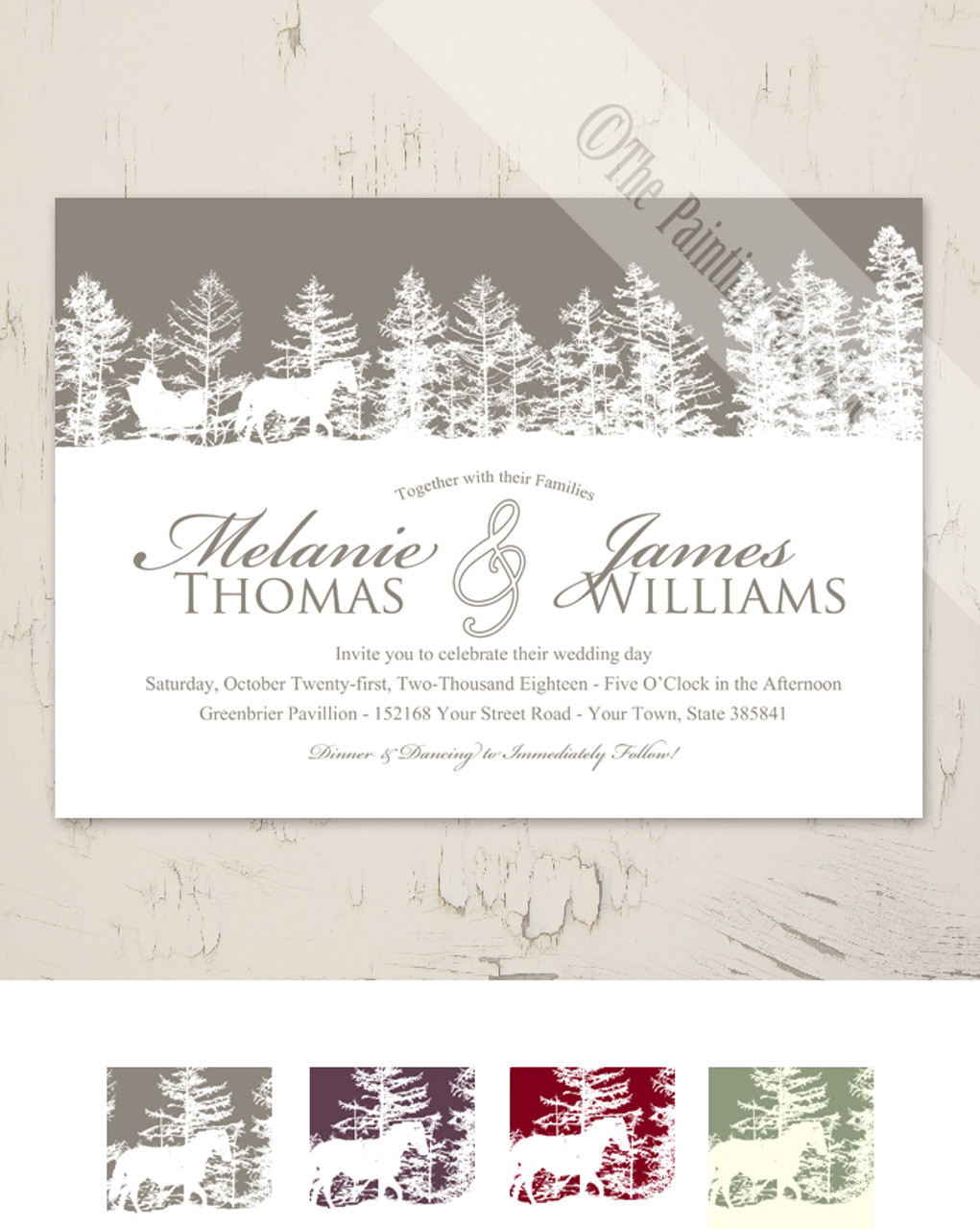 Christmas Wedding Invitations.Horse Sleigh Winter Wedding Invitation 10 Pk