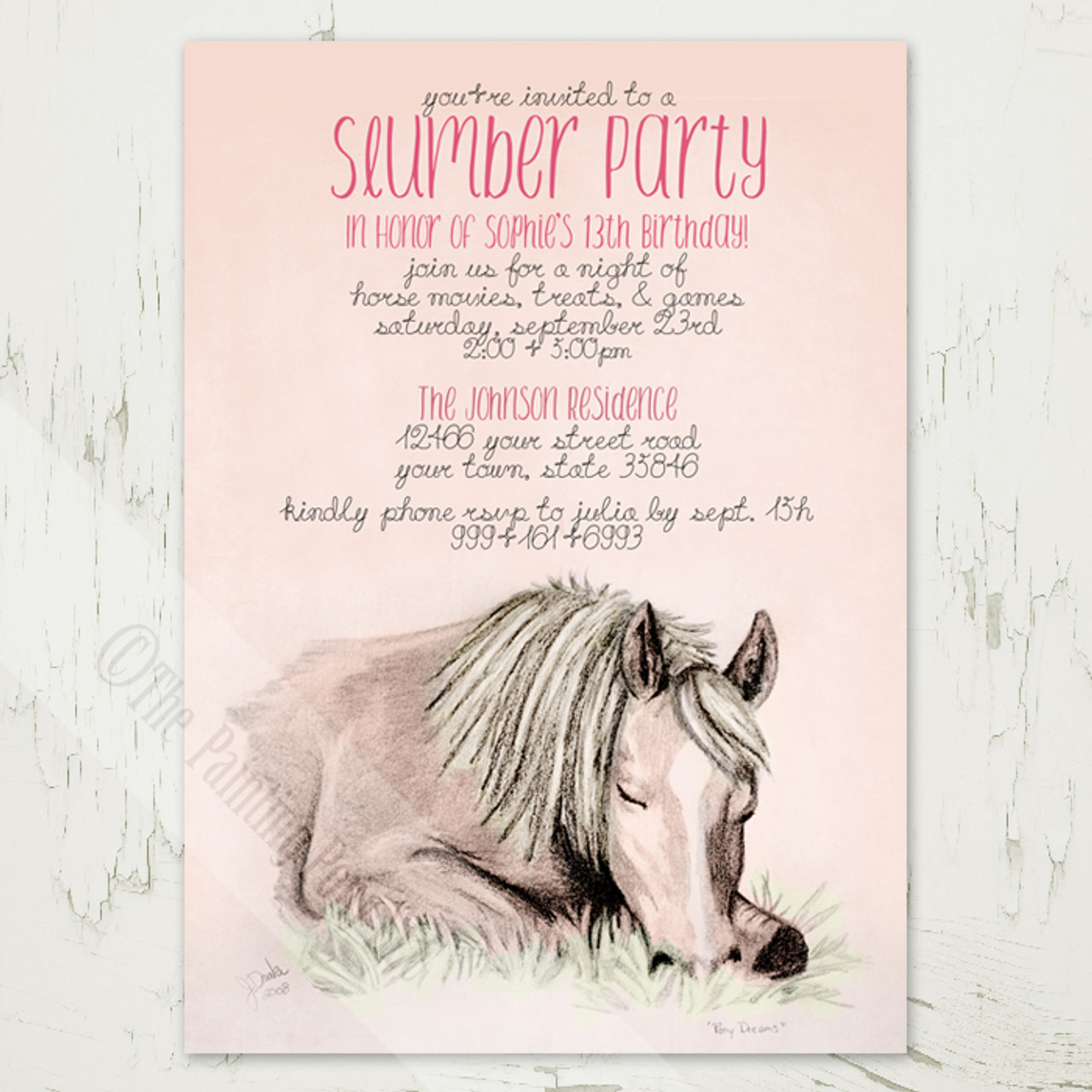 Girls 13th Birthday Slumber Party Invitations With A Horse Or Pony Theme