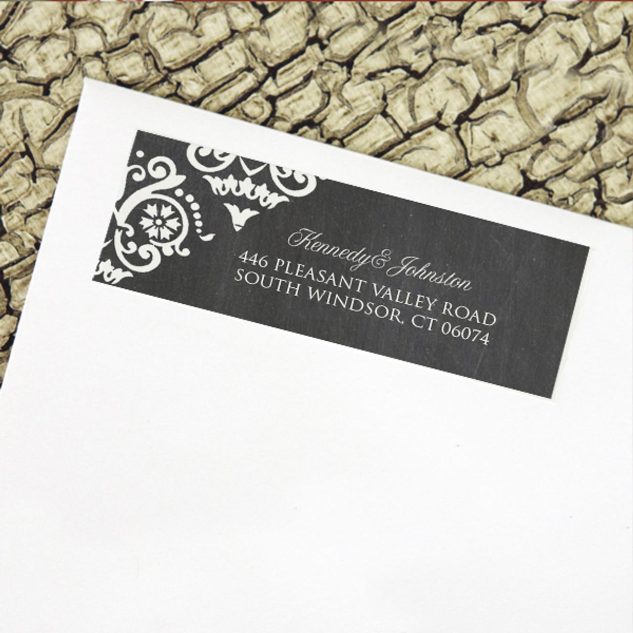 rustic chalkboard damask pattern wedding return address labels the