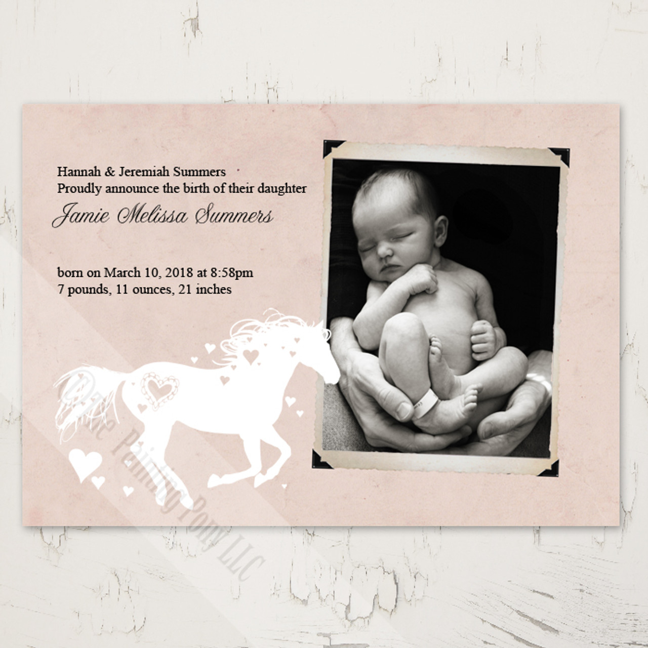 Whimsical Heart Horse Newborn Birth Announcement 10 Pk The Painting Pony