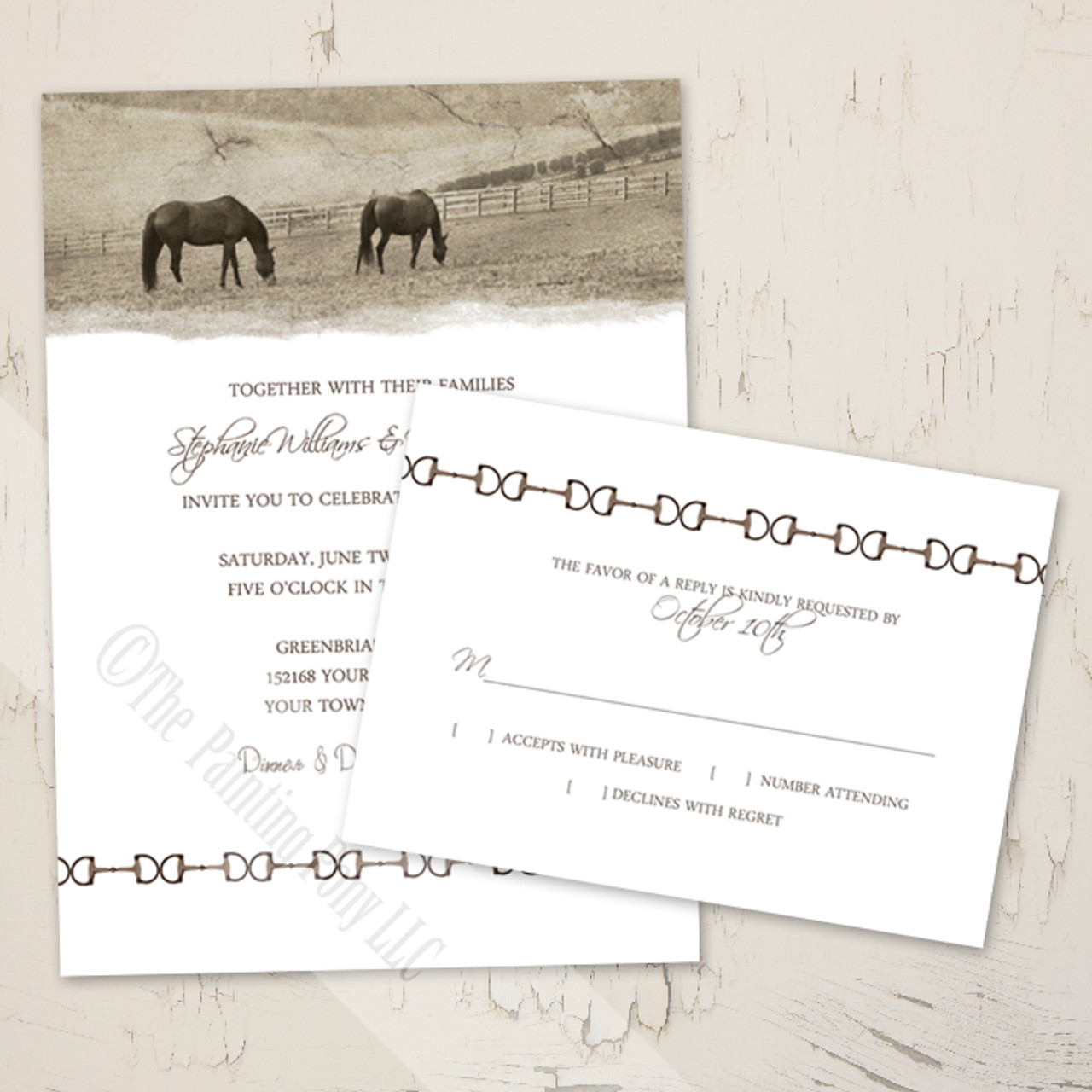 Country Horse Farm Wedding Rsvp Card 10 Pk The Painting Pony