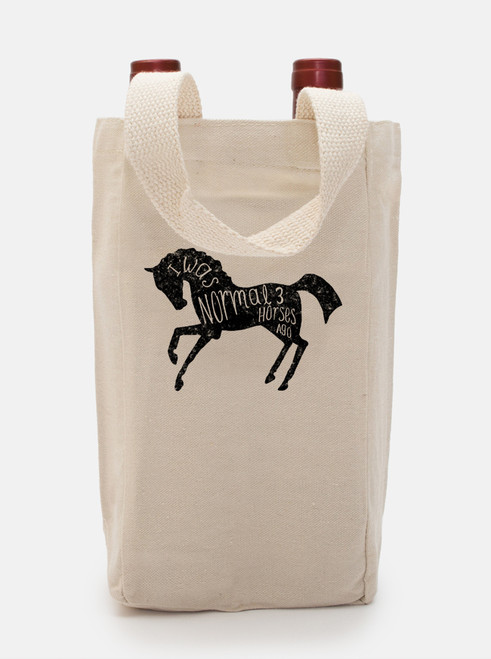 I Was Normal 3 Horses Ago Double Wine Tote