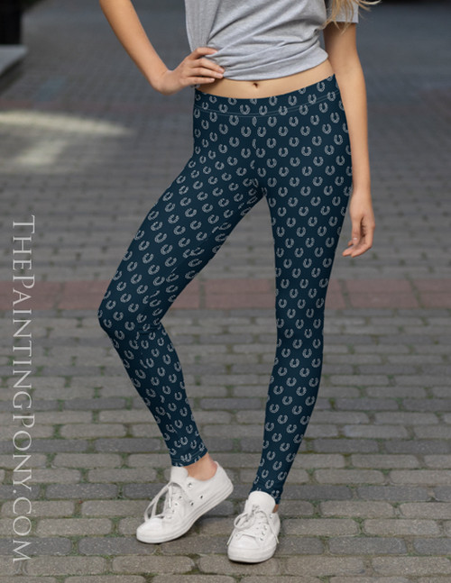 Navy and Gray Horse Shoes Pattern Equestrian Leggings