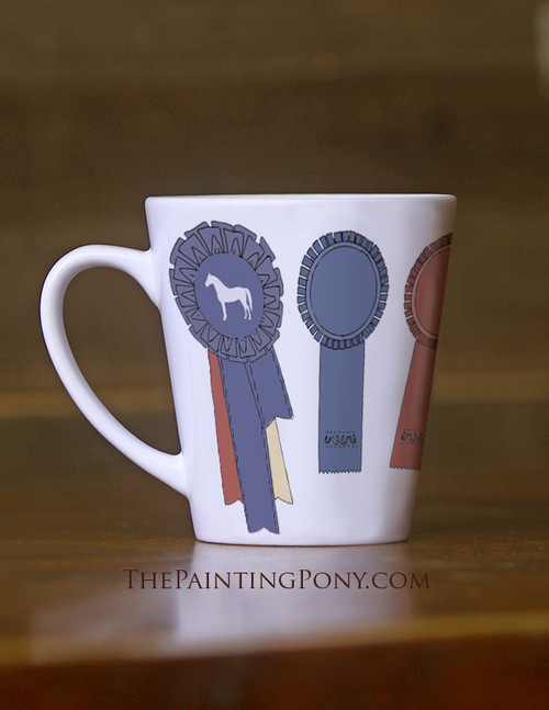 Horse Show Ribbons Equestrian Latte Mug