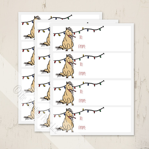 Holiday Christmas Pony Gift Tag Labels