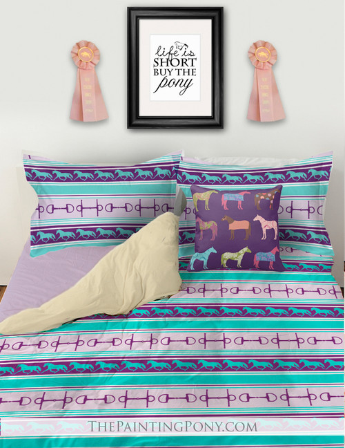 Purple and Teal Trotting Horses and Bits Pattern Bedding Set