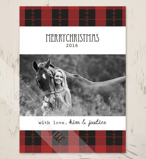 plaid horse bits equestrian christmas card
