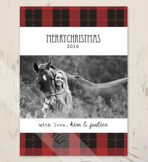 plaid horse bits equestrian christmas card