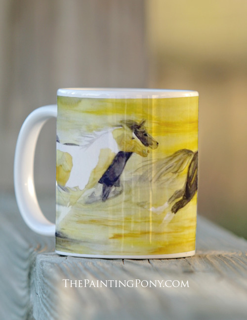 Yellow galloping horses coffee mug