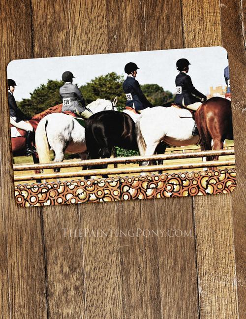 Horse Show Line Up Equestrian Themed Pet Food Mat