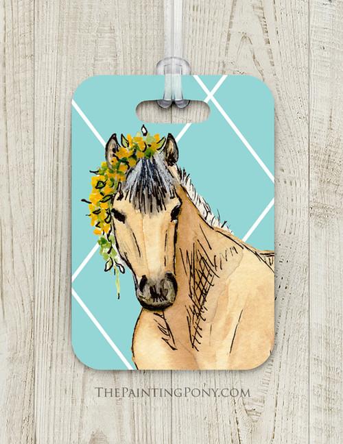 Whimsical Buckskin Pony Custom Luggage Tag