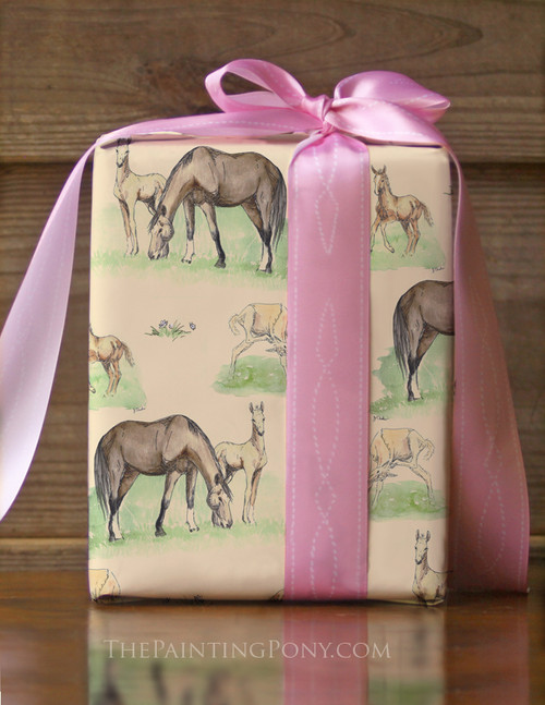 Horse Foals Baby Shower Gift Wrapping Paper
