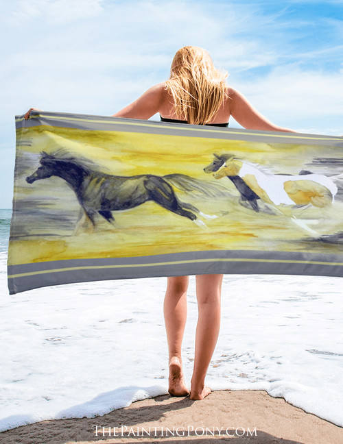 Abstract Galloping Horse Beach Towel