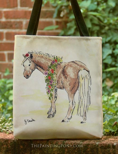 Watercolor Pony Art Tote Bag