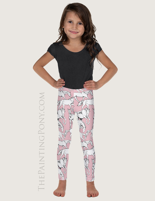 Horses Al1 Over Equestrian Kids Leggings (More Colors Available)