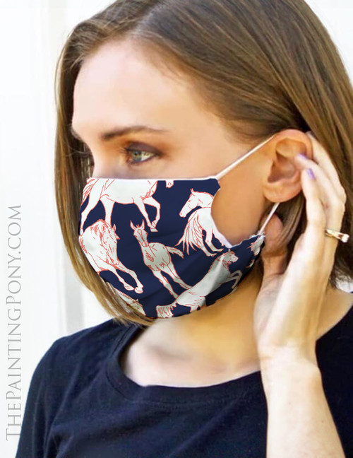 Horses All Over Equestrian Face Mask Coverlet