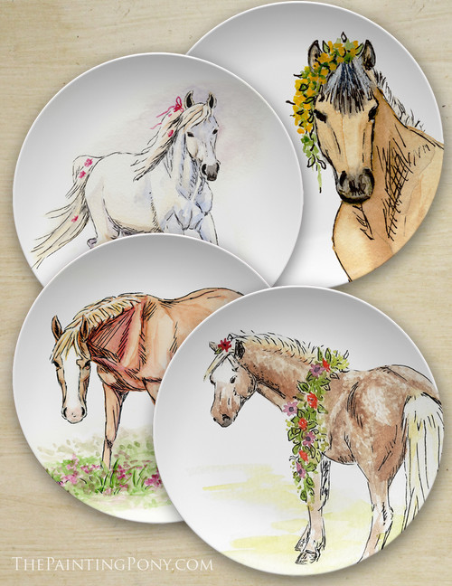 "Whimsical Watercolor Pony Art Equestrian 10"" Plate"