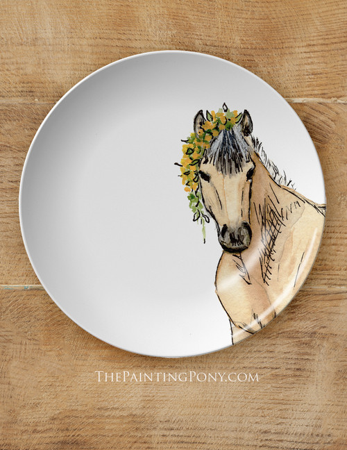 """Whimsical Watercolor Pony Art Equestrian 10"""" Plate"""