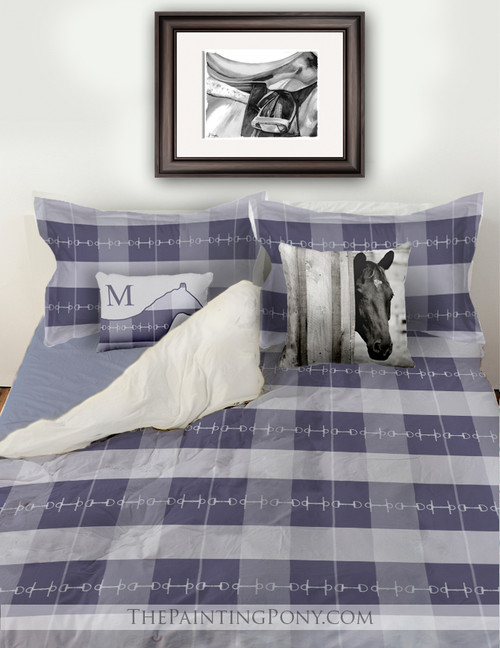 Blue Plaid Horse Bits Boys Bedding Set