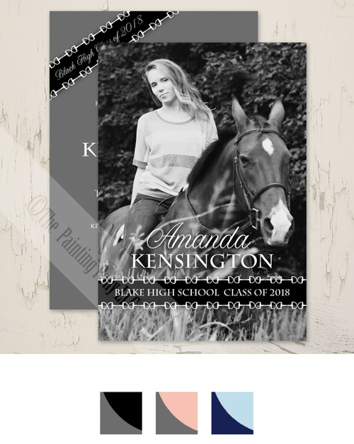 Equestrian Graduate High School or College Graduation Party Invitations.